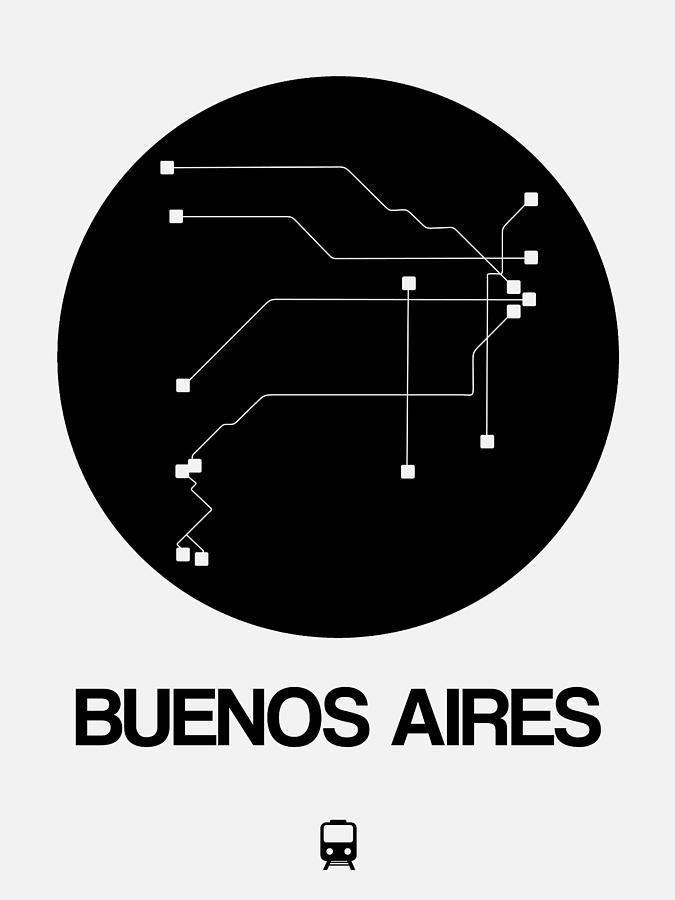 Vacation Digital Art - Buenos Aires Black Subway Map by Naxart Studio