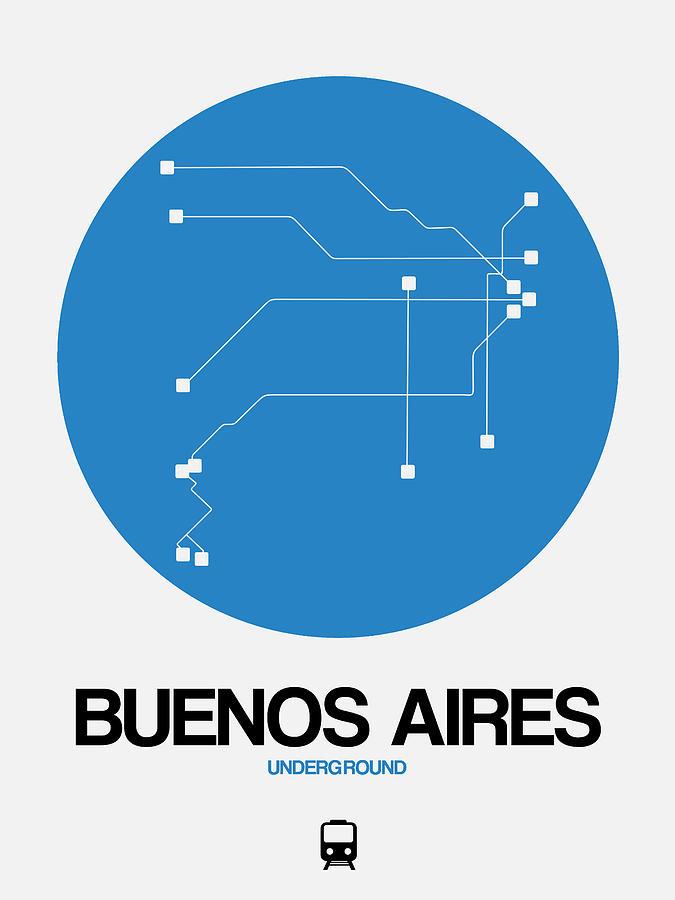 Vacation Digital Art - Buenos Aires Blue Subway Map by Naxart Studio