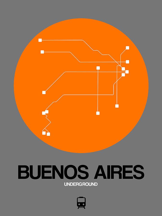 Vacation Digital Art - Buenos Aires Orange Subway Map by Naxart Studio