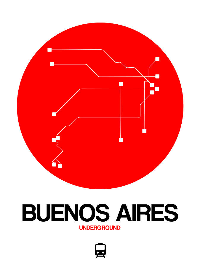 Vacation Digital Art - Buenos Aires Red Subway Map by Naxart Studio