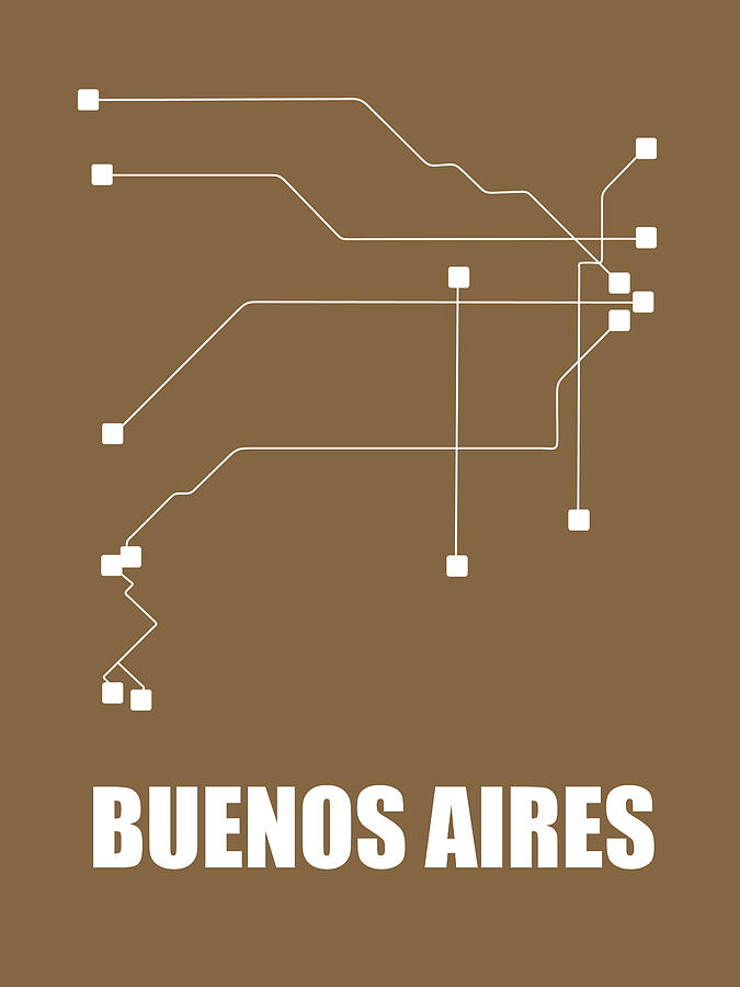 Buenos Aires Digital Art - Buenos Aires Subway Map 2 by Naxart Studio