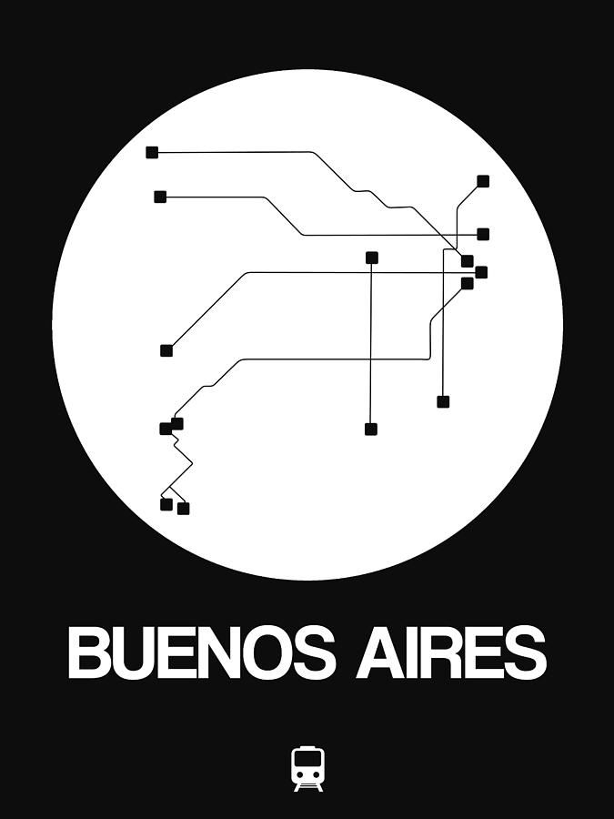 Vacation Digital Art - Buenos Aires White Subway Map by Naxart Studio
