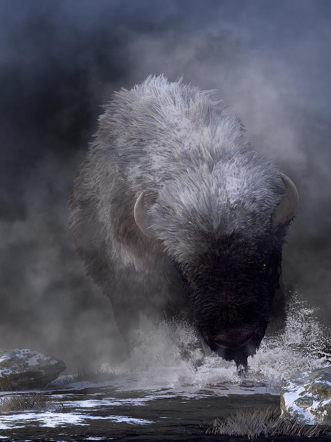 Buffalo Charging Through Snow Digital Art