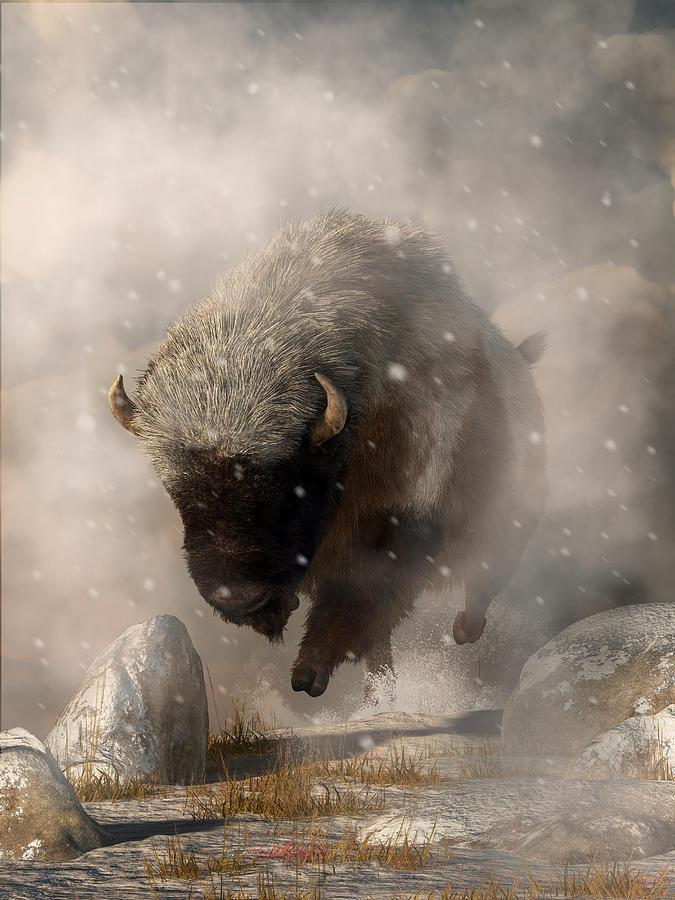 Blizzard Digital Art - Buffalo In A Blizzard by Daniel Eskridge