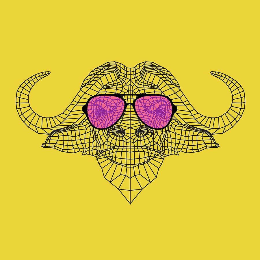 Buffalo Digital Art - Buffalo In Pink Glasses by Naxart Studio