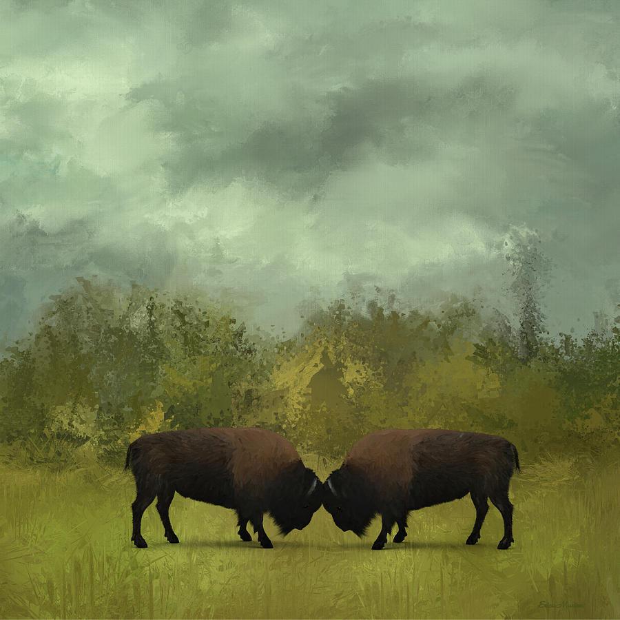 Buffalo Standoff - Painting by Ericamaxine Price