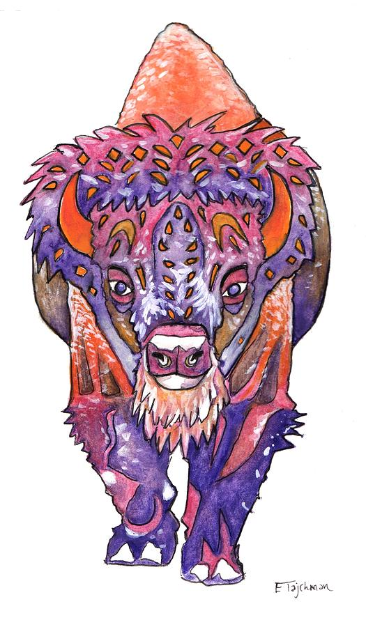 Buffalo Painting - Buffalo Winter Spirit by Ed Tajchman