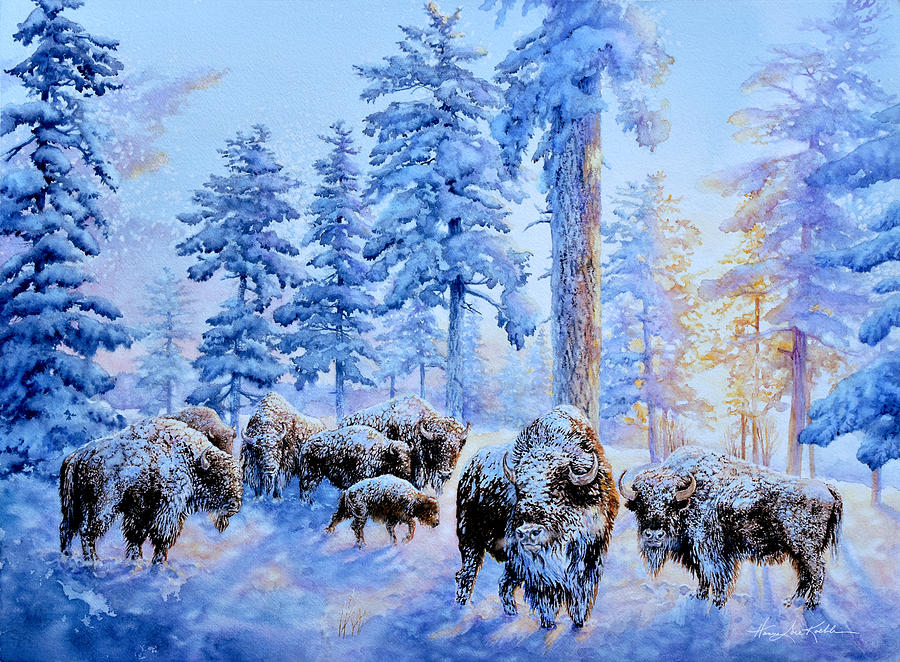 Buffalos At Sunrise Painting