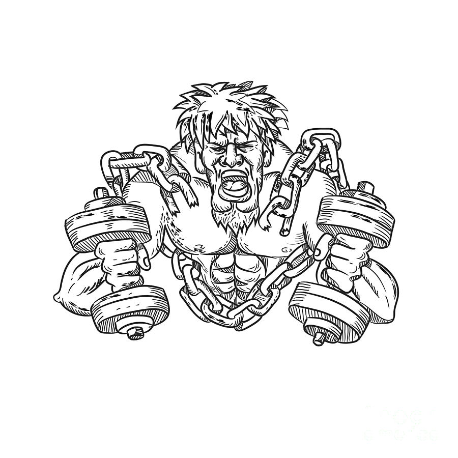 Buffed Athlete Dumbbells Breaking Free From Chains Drawing Digital Art