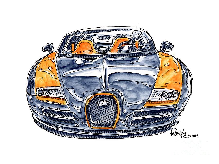 Bugatti Veyron Grand Sport Vitesse Sports Car Ink Drawing And Wa