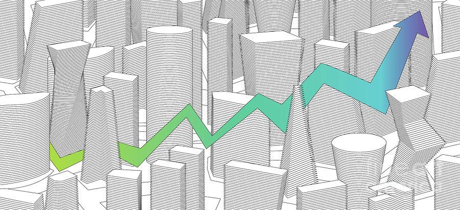 building city and rising graph by ATIKETTA SANGASAENG