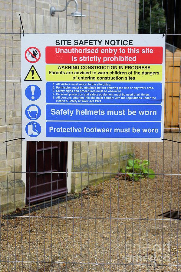 Blue Photograph - Building Site Sign by Tom Gowanlock