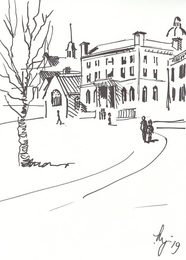 Buildings at edge of Exeter Cathedral green drawing by Mike Jory
