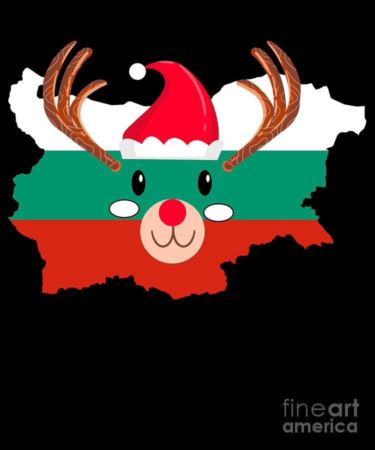 Christmas Digital Art - Bulgaria Christmas Hat Antler Red Nose Reindeer by TeeQueen2603