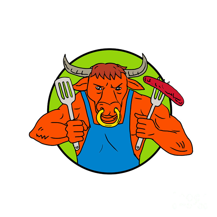 Drawing Digital Art - Bull Holding Barbecue Sausage Drawing Color by Aloysius Patrimonio