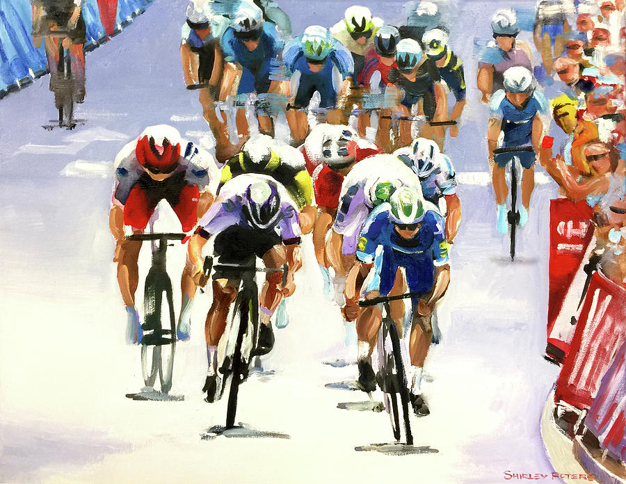 Le Tour De France Painting - Bullet Finish by Shirley Peters