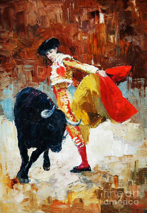 Paint Digital Art - Bullfighting In Spain, Oil Painting by Maria Bo
