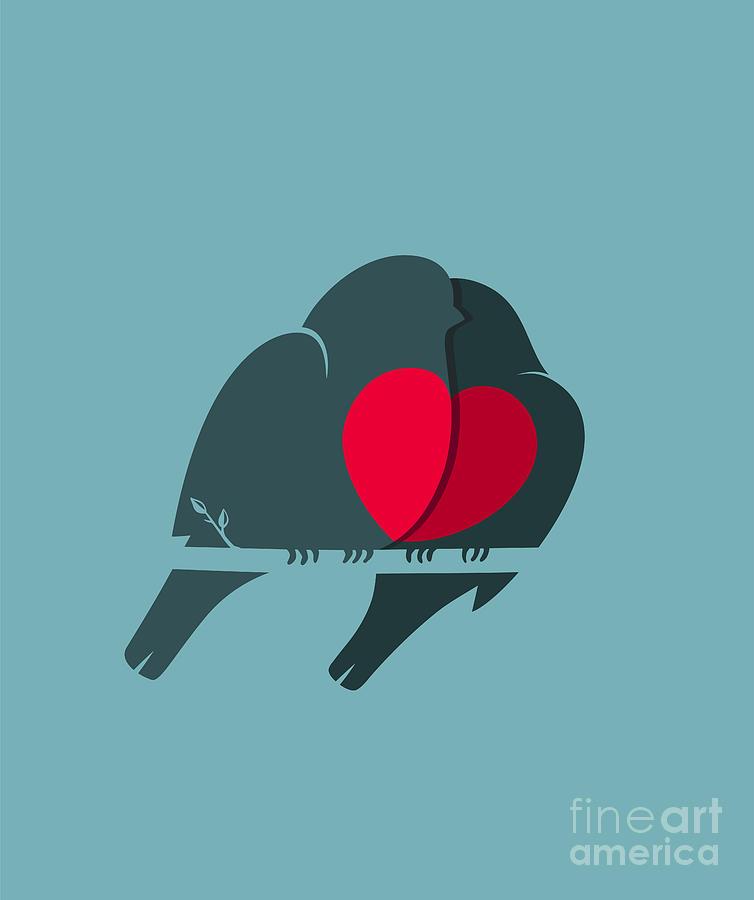 Love Digital Art - Bullfinch Birds Heart Love Couple by Popmarleo