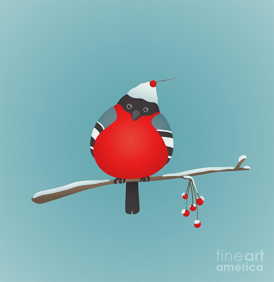 Berry Digital Art - Bullfinch Sitting On Ashberry Twig by Popmarleo