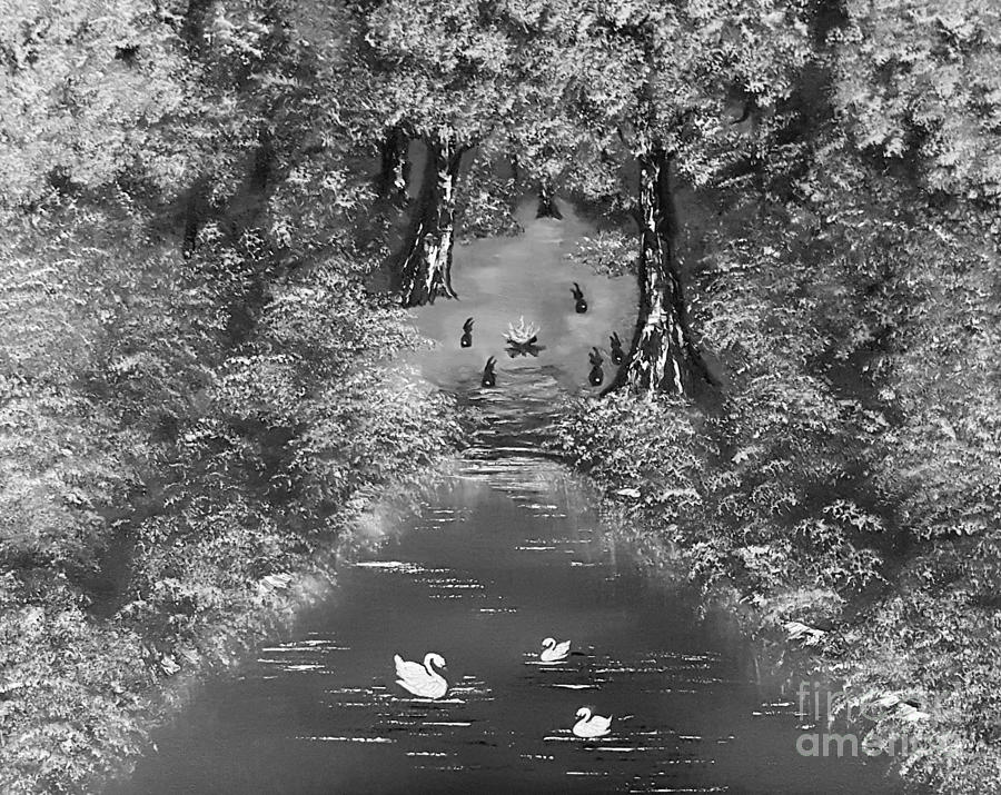Gray Painting - Bunnies Always Welcome Grayscale  by Angela Whitehouse