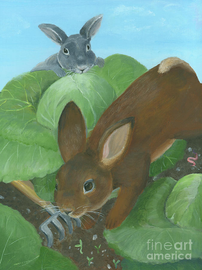 Bunny Painting - Bunnies in the Garden by Pam Fries