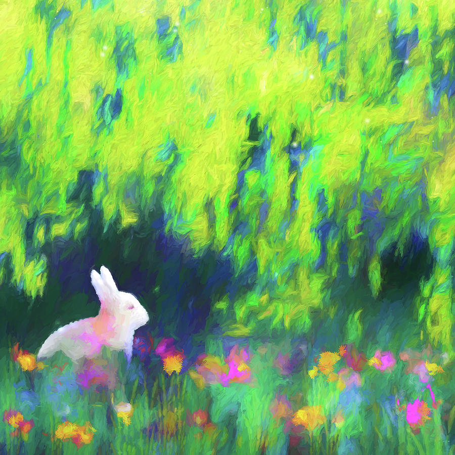Bunny Beneath The Willow Tree - Square by Jon Woodhams
