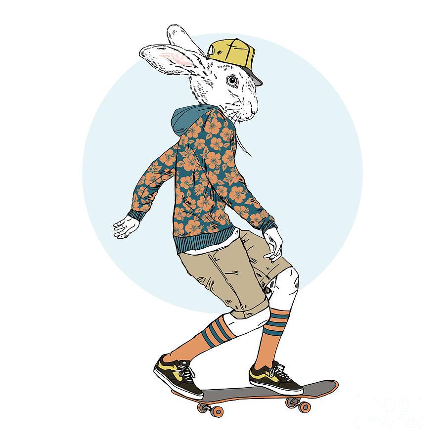 Fancy Digital Art - Bunny Boy Riding On A Skateboard, Furry by Olga angelloz