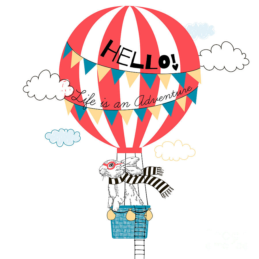 Fancy Digital Art - Bunny Flying In Air Balloon, Animal by Olga angelloz