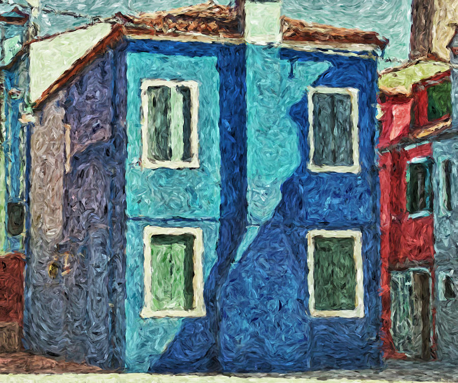 Burano blue house with chimney by Luisa Vallon Fumi