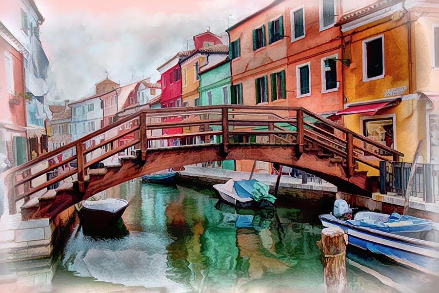 Burano Canal and Bridge by Lowell Monke