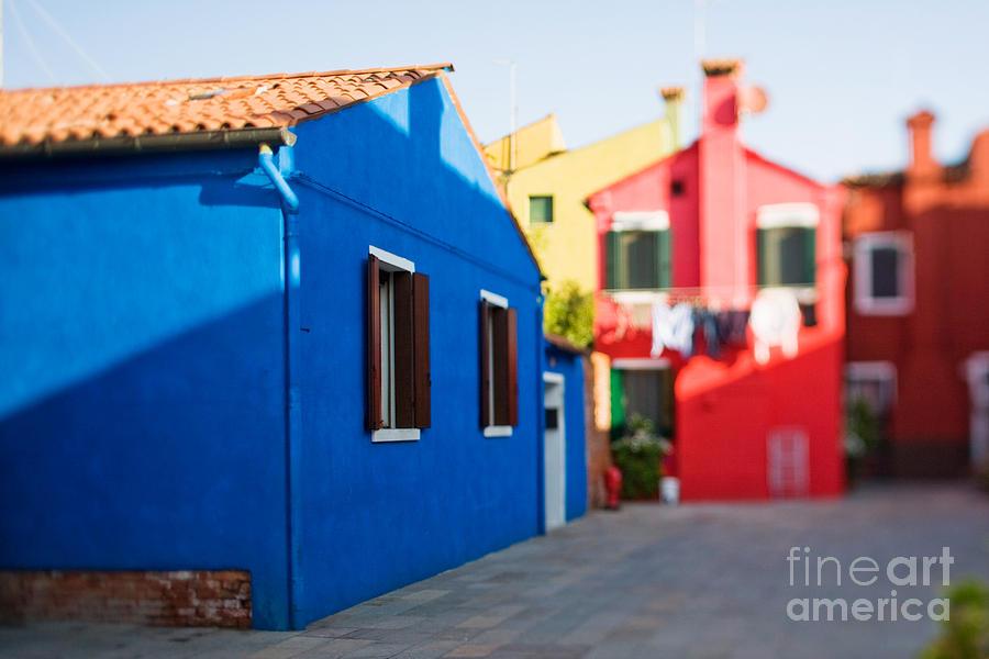 Color Photograph - Burano Island In Tilt-shift by Zinaida Zakharova