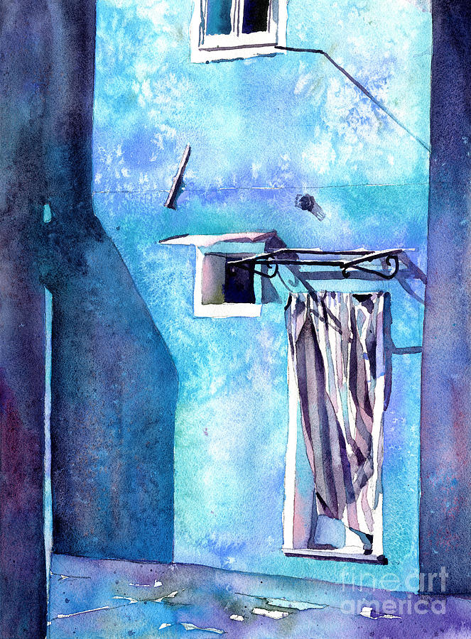 Burano, Italy colorful doorway.  Fine art watercolor of colorful by Ryan Fox