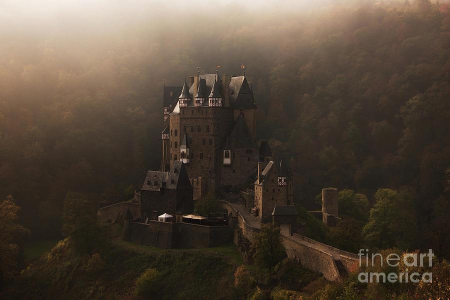 Eltz Photograph - Burg Eltz fairy tale castle in the fog by IPics Photography