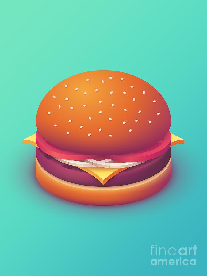 Burger Digital Art - Burger Isometric - Plain Mint by Ivan Krpan