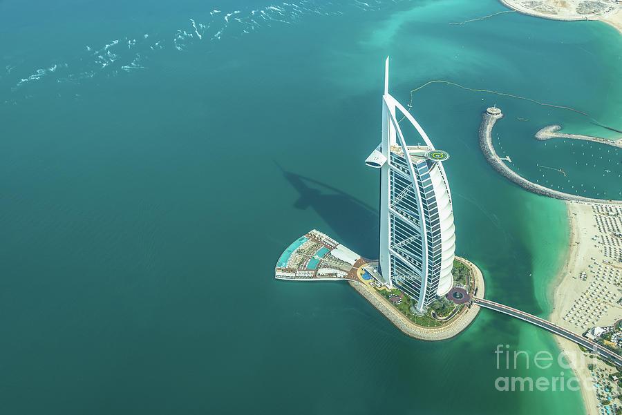 Dubai Photograph - Burj Al Arab From Above In Dubai by Delphimages Photo Creations