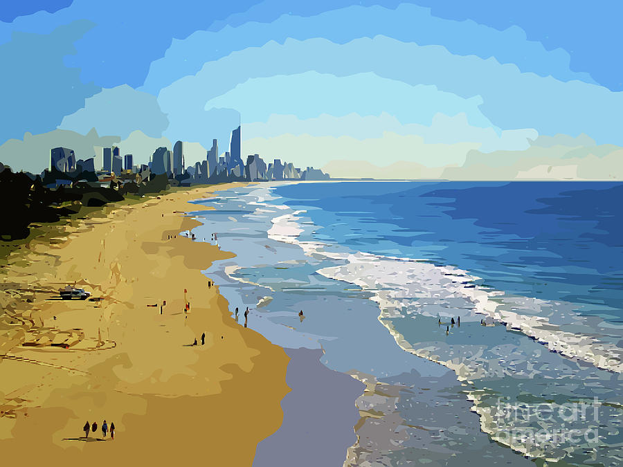 Burleigh Beach Gold Coast Australia 070708 Cartoon by Selena Boron