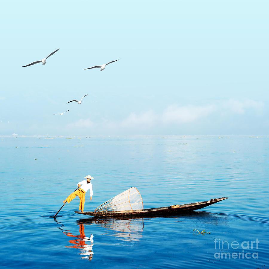 Canoe Photograph - Burma Myanmar Inle Lake Traditional by Banana Republic Images