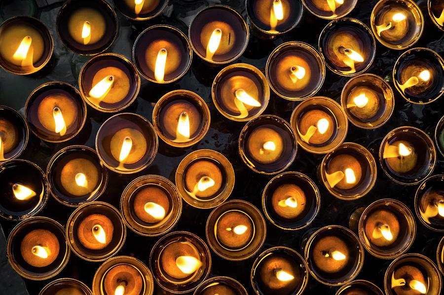 Burning Candles At Swayambhunath Stupa Photograph by Glen Allison