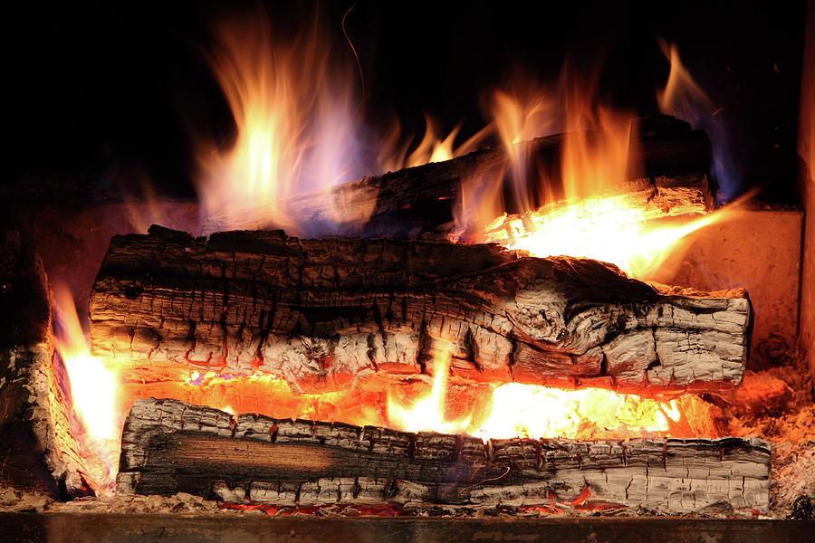 Burning Fireplace Photograph by Jenjen42
