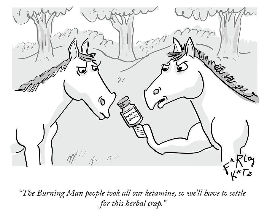 Burning Man Ketamine Drawing by Farley Katz
