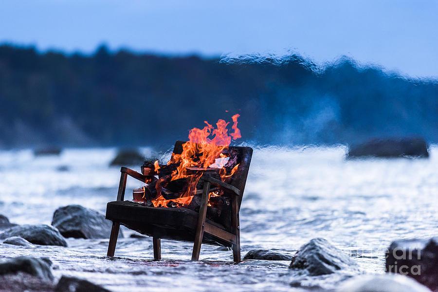 Flare Photograph - Burning Old Armchair On The Seashore by Anatoli Styf