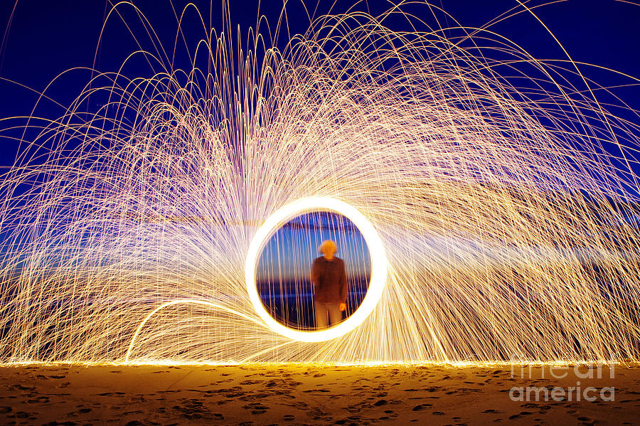 Heat Photograph - Burning Steel Wool Spinned by Andrius saz