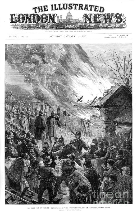 Burning The Houses Of Evicted Tenants Drawing by Print Collector
