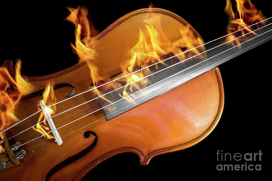 Burning violin by Gregory DUBUS
