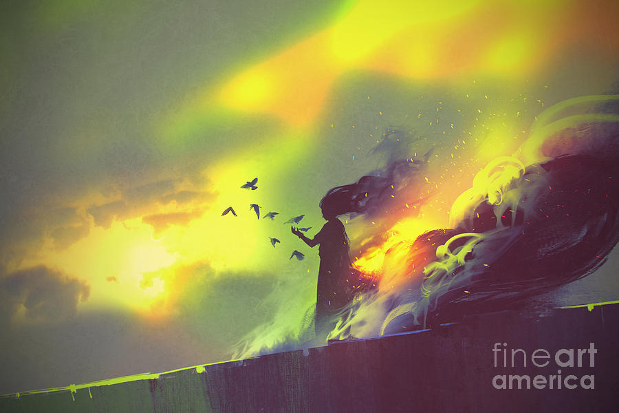 Magic Digital Art - Burning Woman Standing Against Cloudy by Tithi Luadthong