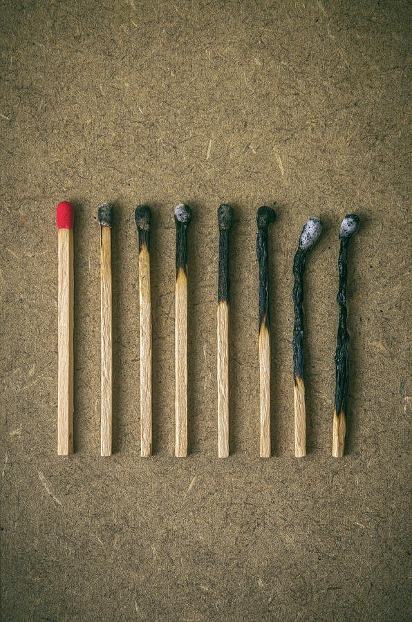 Match Photograph - Burnt Matches by Carlos Caetano