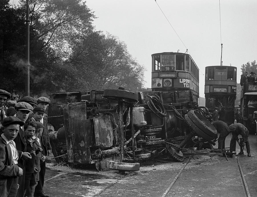 Burnt Out Steam Lorry Photograph by Fox Photos