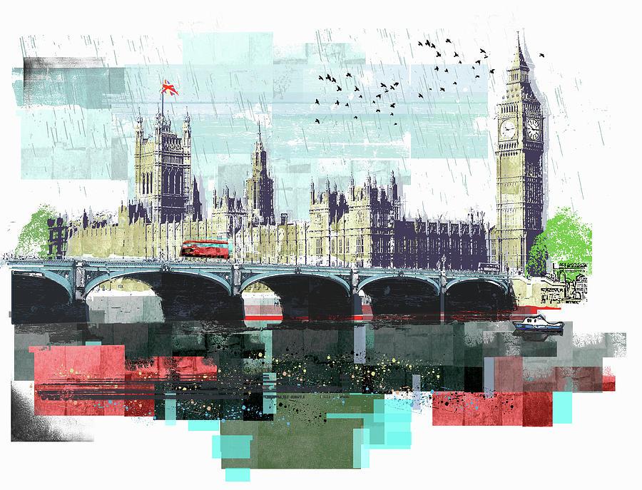 Clock Tower Digital Art - Bus Crossing Westminster Bridge By by Sarah Jones