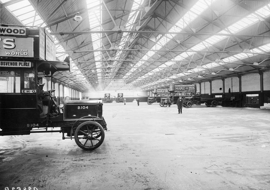 Bus Garage Photograph by Hulton Archive