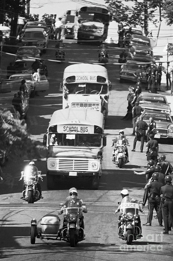 Bused Students With Heavy Police Escort Photograph by Bettmann
